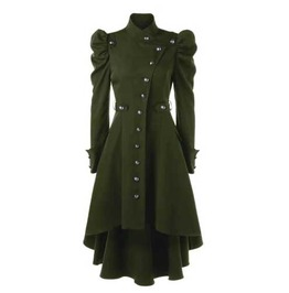 Women's Green Puff Sleeved Victorian Gothic Over Coat Fall Spring Jacket