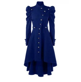 Women's Indigo Puff Sleeved Victorian Gothic Over Coat Fall Spring Jacket