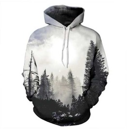 Men's Mountain Tree Print Hooded Sweatshirt Black White Hoodie $5 To Ship!