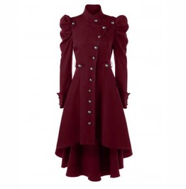 Women's Bordeaux Puff Sleeved Victorian Gothic Over Coat Fall Spring Jacket