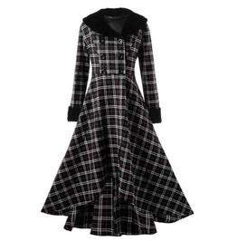 Women's Black White Checkered Jacket Full Length Long Spring Fall Over Coat