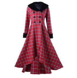 Women's Red Checkered Jacket Full Length Long Spring Fall Plaid Over Coat