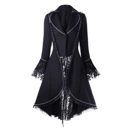 Women's Black Gothic Lolita Jacket Corset Back Lace Spring Fall Over Coat