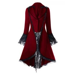 Women's Red Gothic Lolita Jacket Corset Back Lace Spring Fall Over Coat