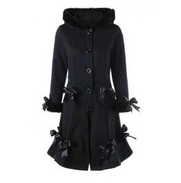 Women's Black Gothic Lolita Bow Corset Back Faux Fur Fall Winter Over Coat