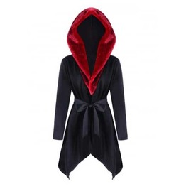 Women's Black Red Faux Fur Hooded Short Fall Winter Gothic Lolita Over Coat