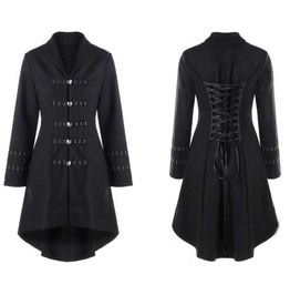 Women's Black Corset Back Classic Fall Winter Over Coat Jacket $5 To Ship