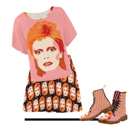 Bowie Skater Skirt . Original Illustration