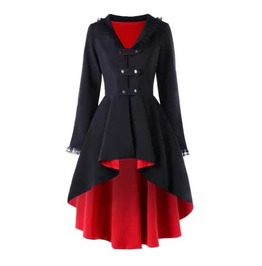 Women's Black Red Lining Goth Lolita Lace Trim Fall Spring Over Coat Jacket