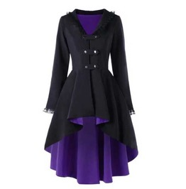 Women's Black Purple Goth Lolita Lace Trim Fall Spring Over Coat Jacket