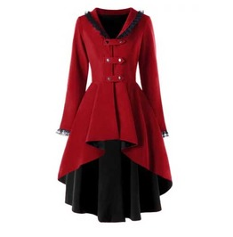 Women's Red Black Lining Goth Lolita Lace Trim Fall Spring Over Coat Jacket