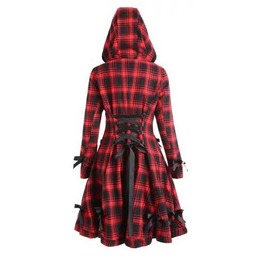 Women's Black Red Plaid Hooded Checkered Spring Coat Fall Jacket $5 To Ship
