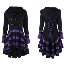 Women's Black Purple Hooded Casual Gothic Corset Spring Coat Fall Jacket