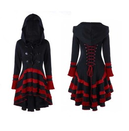Women's Black Red Hooded Casual Gothic Corset Spring Coat Fall Jacket