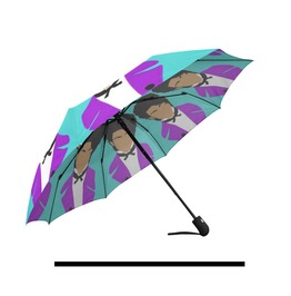 Purple Pop Star Automatic Umbrella . Original Illustration