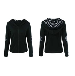 Women's Black Spider Web Hoodie Casual Gothic Sweater Spring Fall Jacket