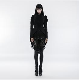 Punk Rave Women's Gothic Gorgeous Vintage High/Low Lace Ruched Coat Y831
