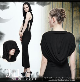 Punk Rock Futuristic Dark Mage Safepin Hooded Placket Shift Dress Skt021