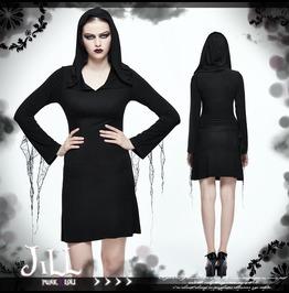 Goth Halloween Lich Sorceress Cobweb Tassel Hooded Shift Dress【Skt059】
