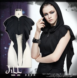 Punk Visual Halloween Murmur Of Demon Bat Wing Bolero Hooded Jacket【Ca007】