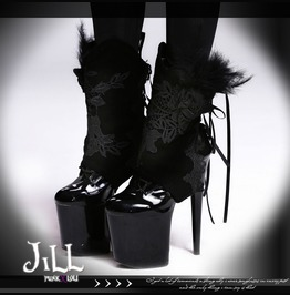 Gothic Oriental Nightingale Empress Floral Decal Feather Ankle Spats【As003】