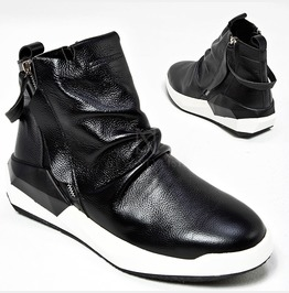 Black And White Contrast Wrinkled Sneakers 414