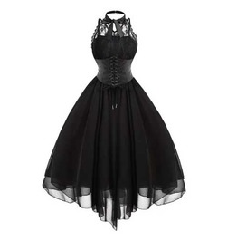 Women's Black Layered Goth Rockabilly Retro 50s Pin Up Dress $5 To Ship