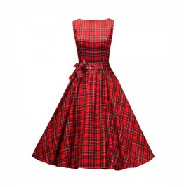 Women's Red Plaid Checkered Rockabilly Retro 50s Pin Up Dress $5 To Ship