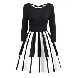 Women's White Piano Key Rockabilly Retro 50s Swing Pin Up Dress $5 To Ship