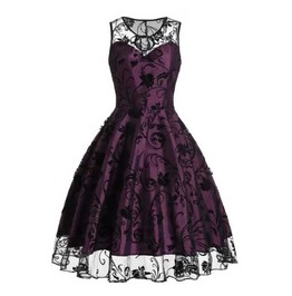 Women's Purple Black Lace Rockabilly Retro 50s Pin Up Goth Dress $5 To Ship