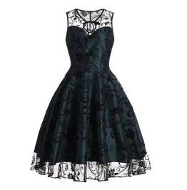 Women's Green Black Lace Rockabilly Retro 50s Pin Up Goth Dress $5 To Ship