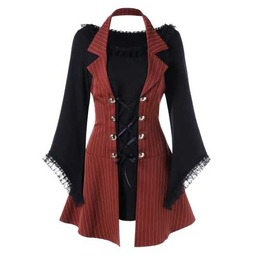 Women's Dark Red Brown Striped Tunic Top Striped Steampunk Dress $5 To Ship
