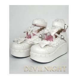 White Sweet Bow Lolita Platform Shoes Del 0001