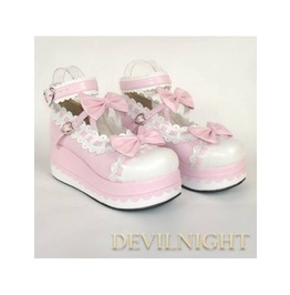 Pink Sweet Bow Lolita Platform Shoes Del 0001