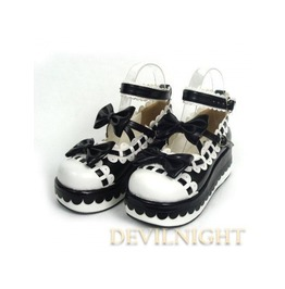 Black Sweet Bow Lolita Platform Shoes Del 0001