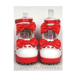 Red Little Girl's Crossed Blet Sweet Lolita High Heel Shoes Del