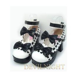 Black Little Girl's Crossed Blet Sweet Lolita High Heel Shoes Del 0002