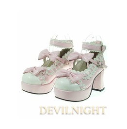 Pink Little Girl's Crossed Blet Sweet Lolita High Heel Shoes Del 0002