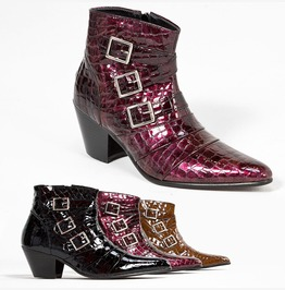 Snake Pattern Leather Triple Buckle High Heel Ankle Boots 411