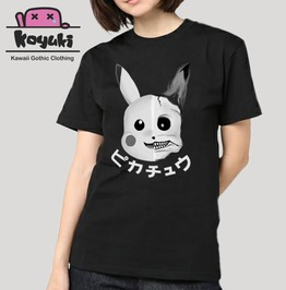 Pikachu Gothic Harajuku Anime Horror Kawaii Creepy Black And White