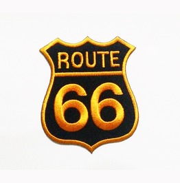 Route 66 Embroidered Iron On Patch.