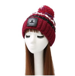 Women Hat Knit Winter Hat Chunky Thick Stretchy Slouchy Music Wool Hat
