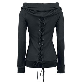 Retro Gothic Lace Up Women Hoodies Sweatshirt