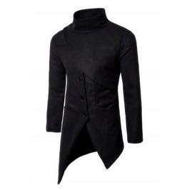 Men's Black Wool Blend Asymmetrical Spring Coat Fall Winter Goth Jacket