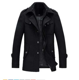 Mens Black Vintage Inspired Retro Spring Jacket Fall Winter Wool Blend Coat