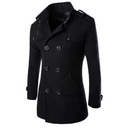 Mens Black Jacket Fall Winter Wool Blend Double Breasted Dressy Pea Coat