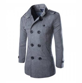 Mens Grey Jacket Fall Winter Wool Blend Double Breasted Dressy Pea Coat