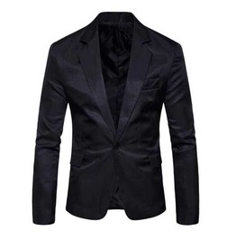 Mens Black Solid One Button Lapel Jacket Classic Mod Blazer $5 To Ship