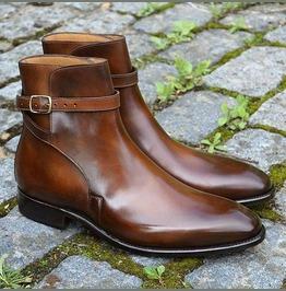 Handmade Men Brown Jodhpurs Leather Boots, Men Ankle Leather Boots Men Boot