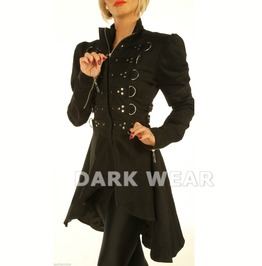 Women Black Steampunk Victorian Coat Gothic Military Jacket Top With Studs